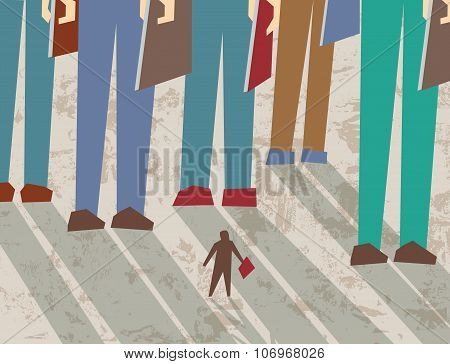 Small and big business people flat shadow
