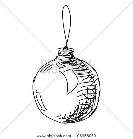 Sketch of christmas ball, Hand drawn illustration