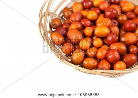 Ripe Jujubes In Basket On A White Background