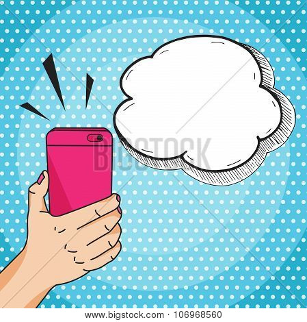 Hand Holding A Pink Mobile Phone With Speech Bubble For Your Text, Pop Art Comic Style Vector