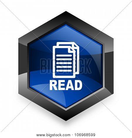 read blue hexagon 3d modern design icon on white background