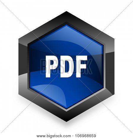 pdf blue hexagon 3d modern design icon on white background