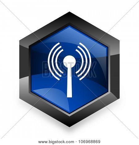 wifi blue hexagon 3d modern design icon on white background
