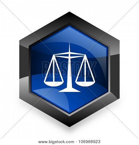 justice blue hexagon 3d modern design icon on white background