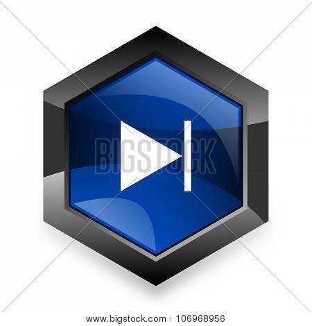 next blue hexagon 3d modern design icon on white background