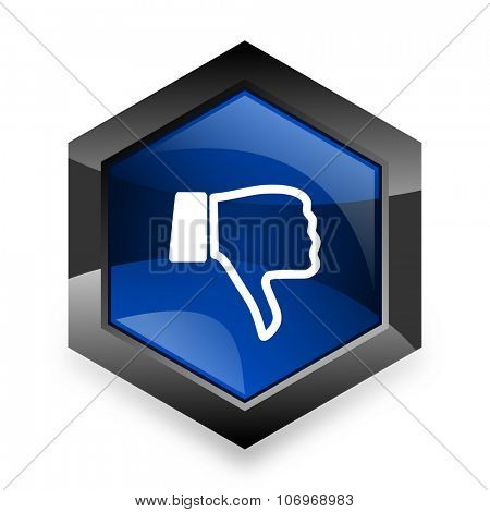 dislike blue hexagon 3d modern design icon on white background