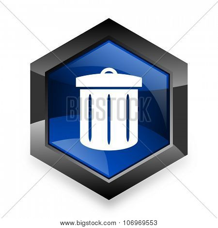 recycle blue hexagon 3d modern design icon on white background