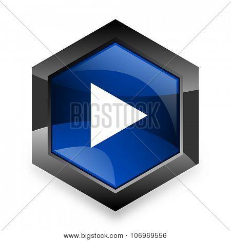 play blue hexagon 3d modern design icon on white background