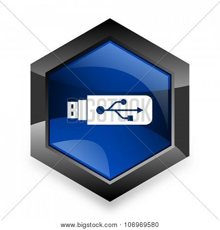 usb blue hexagon 3d modern design icon on white background