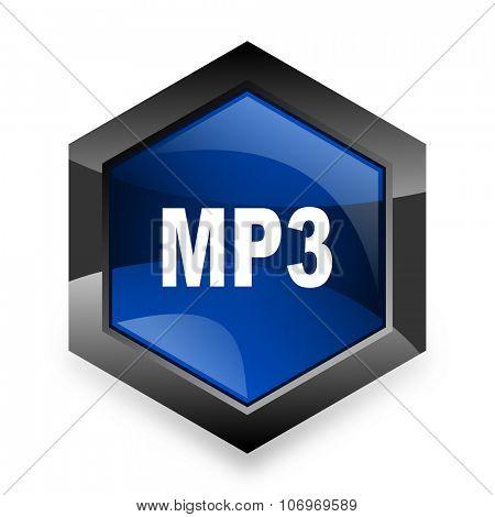mp3 blue hexagon 3d modern design icon on white background