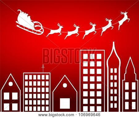 Santa's sleigh flies over the city