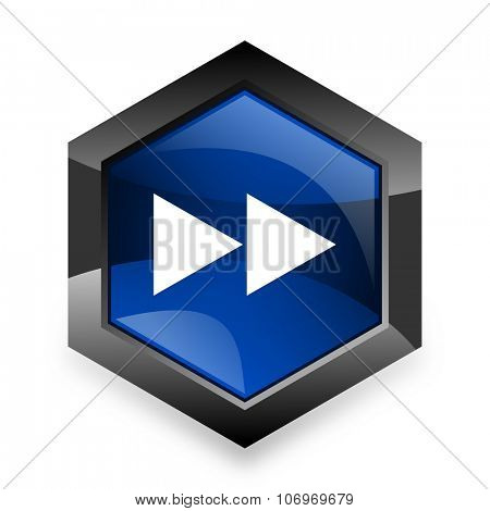 rewind blue hexagon 3d modern design icon on white background