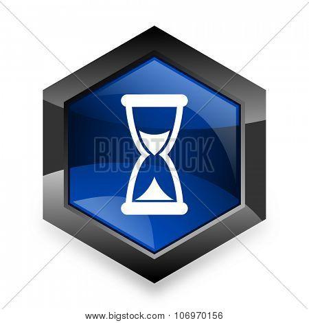 time blue hexagon 3d modern design icon on white background