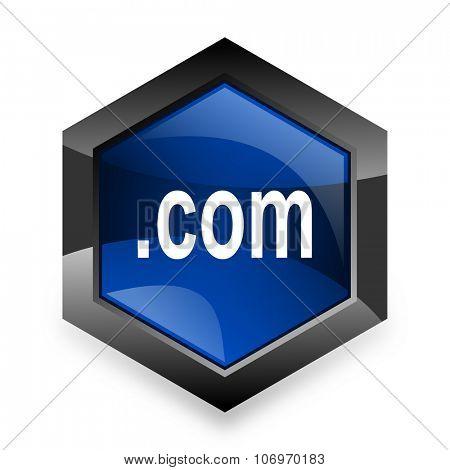 com blue hexagon 3d modern design icon on white background