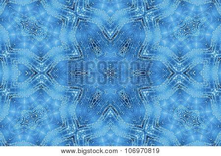 Blue Abstract Kaleidoscope Pattern