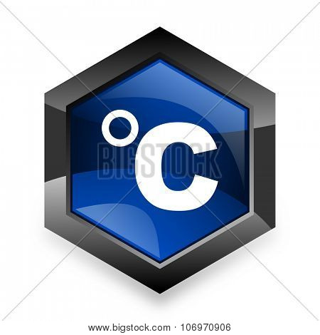 celsius blue hexagon 3d modern design icon on white background