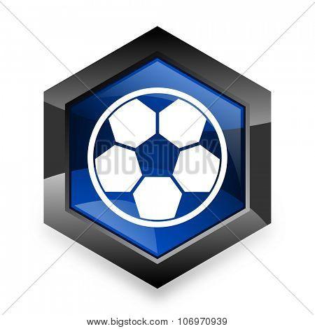 soccer blue hexagon 3d modern design icon on white background