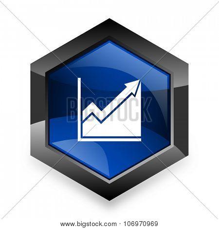histogram blue hexagon 3d modern design icon on white background