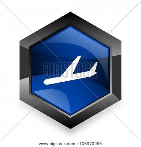arrivals blue hexagon 3d modern design icon on white background