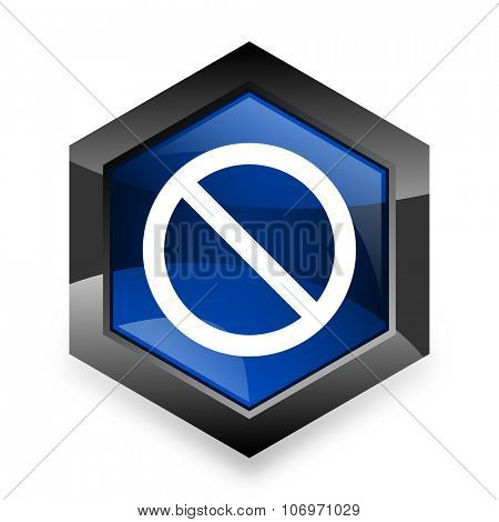 access denied blue hexagon 3d modern design icon on white background