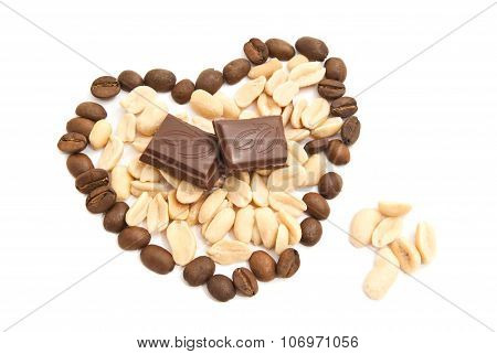 Heart Of Coffee Beans, Peanuts And Chocolate On White