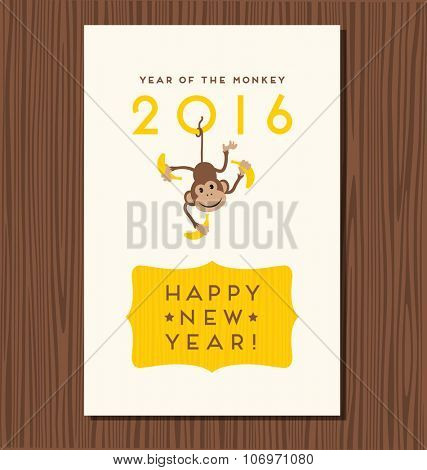 year of the monkey,  happy new year 2016 vector design with cute hanging monkey