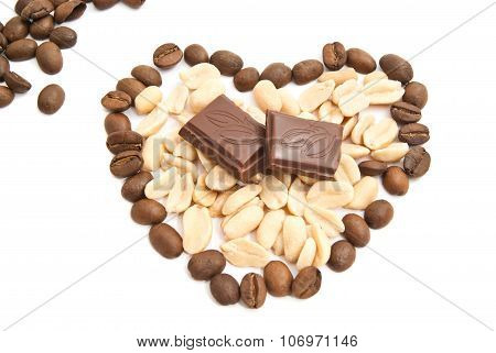 Coffee Beans, Peanuts And Chocolate Bar