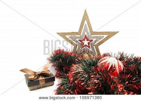 Christmas Tree Toy, Gift Box, Star And Tinsel
