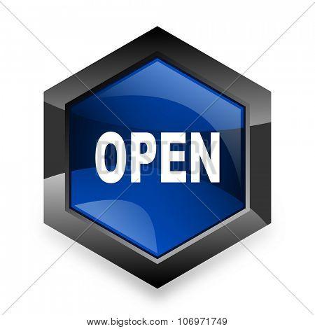 open blue hexagon 3d modern design icon on white background