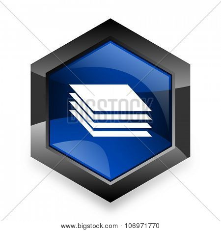 layers blue hexagon 3d modern design icon on white background