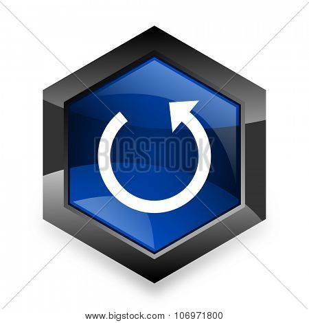 rotate blue hexagon 3d modern design icon on white background