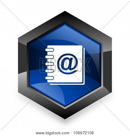 address book blue hexagon 3d modern design icon on white background