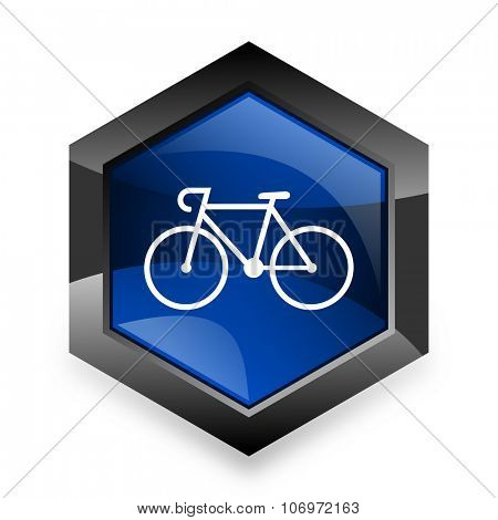 bicycle blue hexagon 3d modern design icon on white background