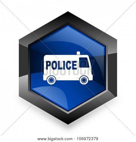 police blue hexagon 3d modern design icon on white background