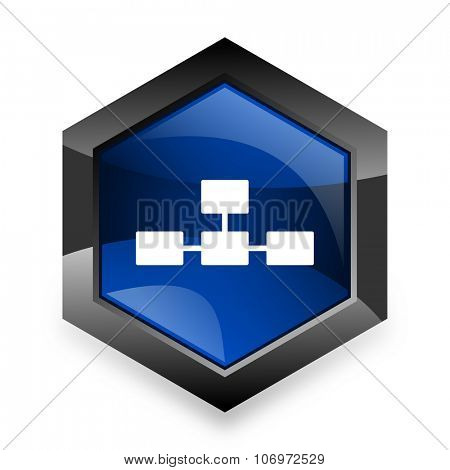database blue hexagon 3d modern design icon on white background