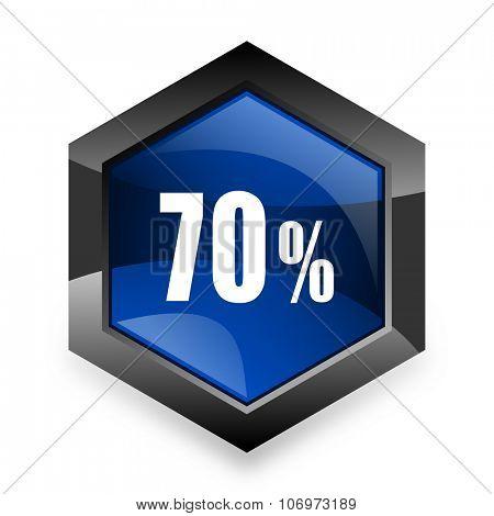 70 percent blue hexagon 3d modern design icon on white background