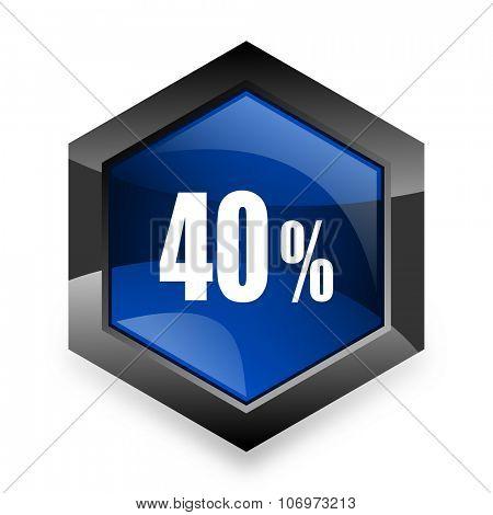 40 percent blue hexagon 3d modern design icon on white background
