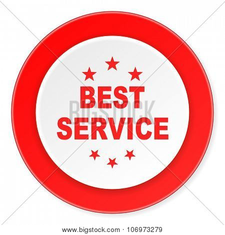 best service red circle 3d modern design flat icon on white background