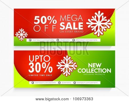 Glossy website header or banner set of Mega Sale with fantastic discount offer for Happy Holidays celebration.
