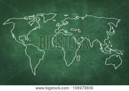 World Map Drawing On Green Chalkboard
