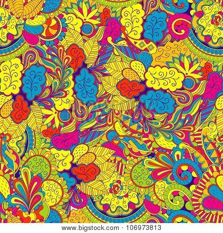 Seamless Mehndi Tracery Design. Paisley, Winding Stem, Spiral, Wave, Bud Mehndi Doodle. Handmade Nat