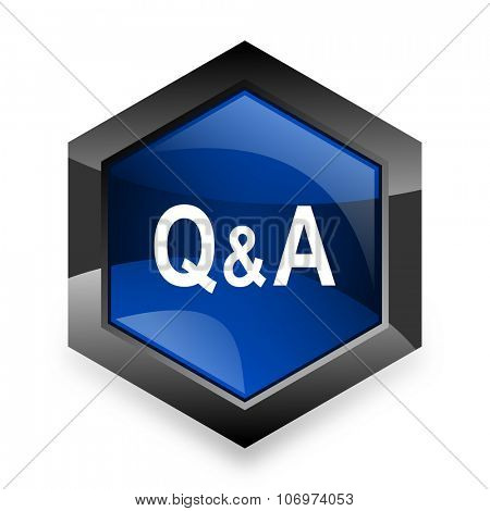 question answer blue hexagon 3d modern design icon on white background