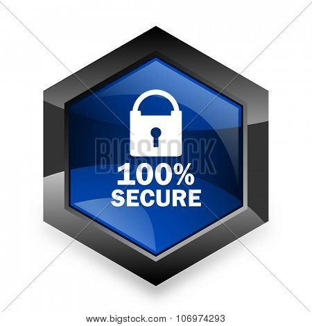 secure blue hexagon 3d modern design icon on white background