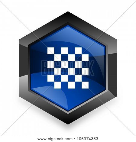 chess blue hexagon 3d modern design icon on white background