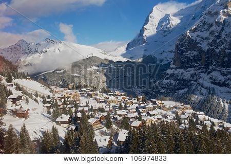 View to the Murren village from the cable car gondola on the way to Schilthorn, Murren, Switzerland.