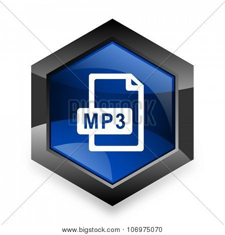 mp3 file blue hexagon 3d modern design icon on white background