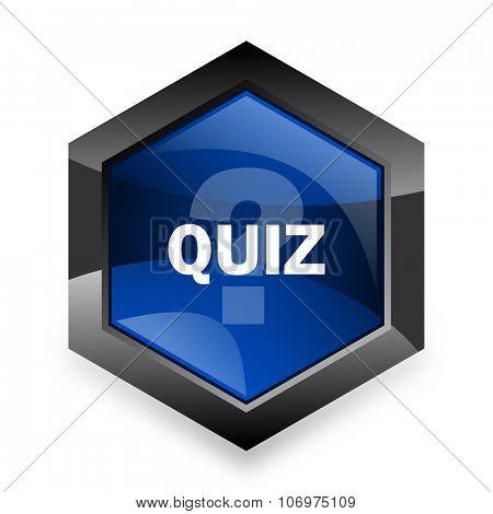 quiz blue hexagon 3d modern design icon on white background
