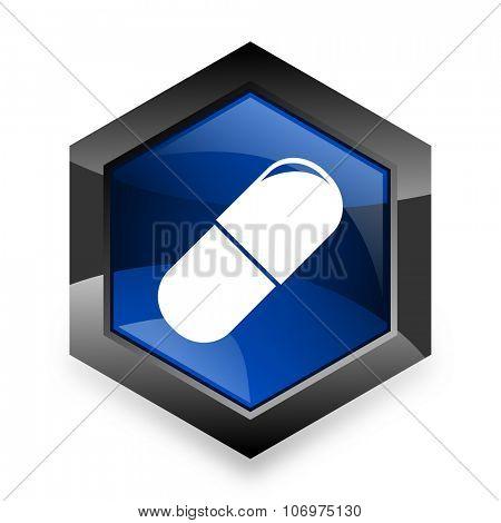 drugs blue hexagon 3d modern design icon on white background