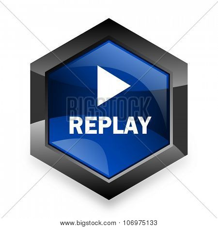 replay blue hexagon 3d modern design icon on white background