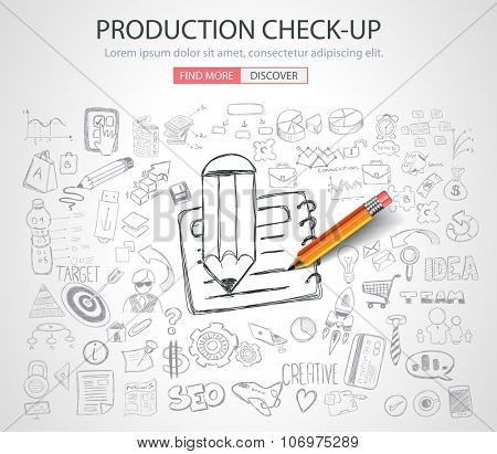 Production Check-up concept with Doodle design style :finding solution, brainstorming, creative thinking. Modern style illustration for web banners, brochure and flyers.